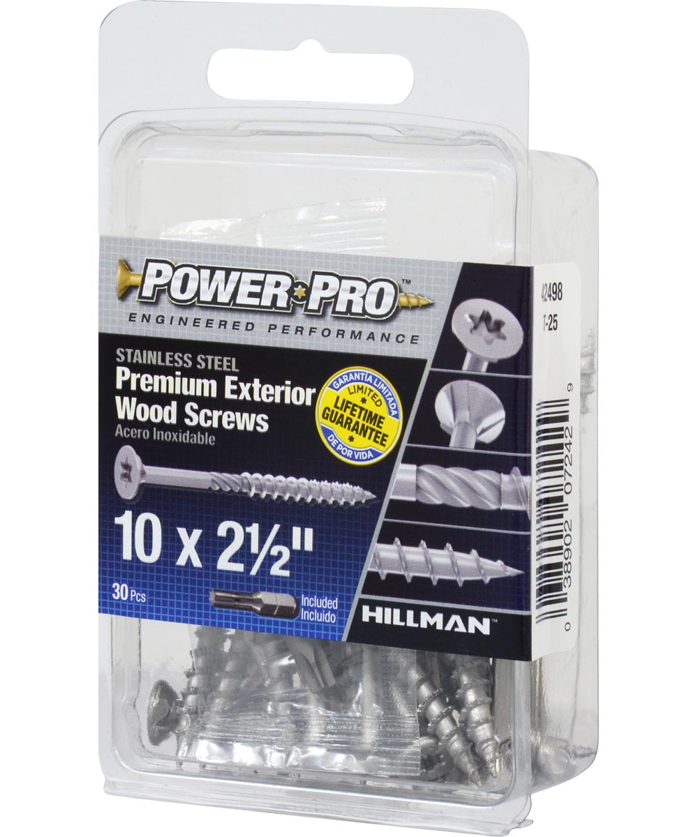 Power Pro Premium 305 Stainless Steel Wood Screw #10 x 2-1/2 in., 30 Pieces