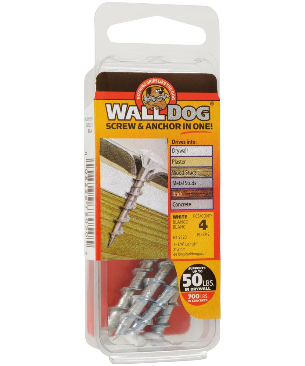 WALLDOG Screw & Anchor In One! White Oval Head Phillips 3/16 in. x 1-1/4 in., 4 Pieces