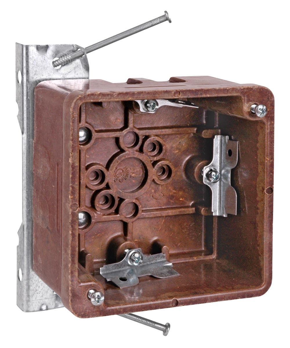 4-1/4 in. Brown Phenolic Square Nail-On Bracket Outlet Box