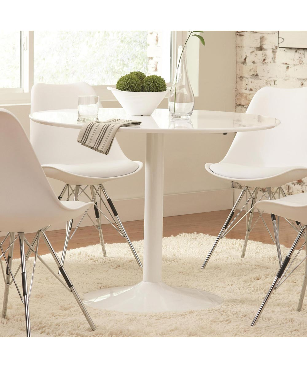 Lowry Contemporary Round Dining Table, White