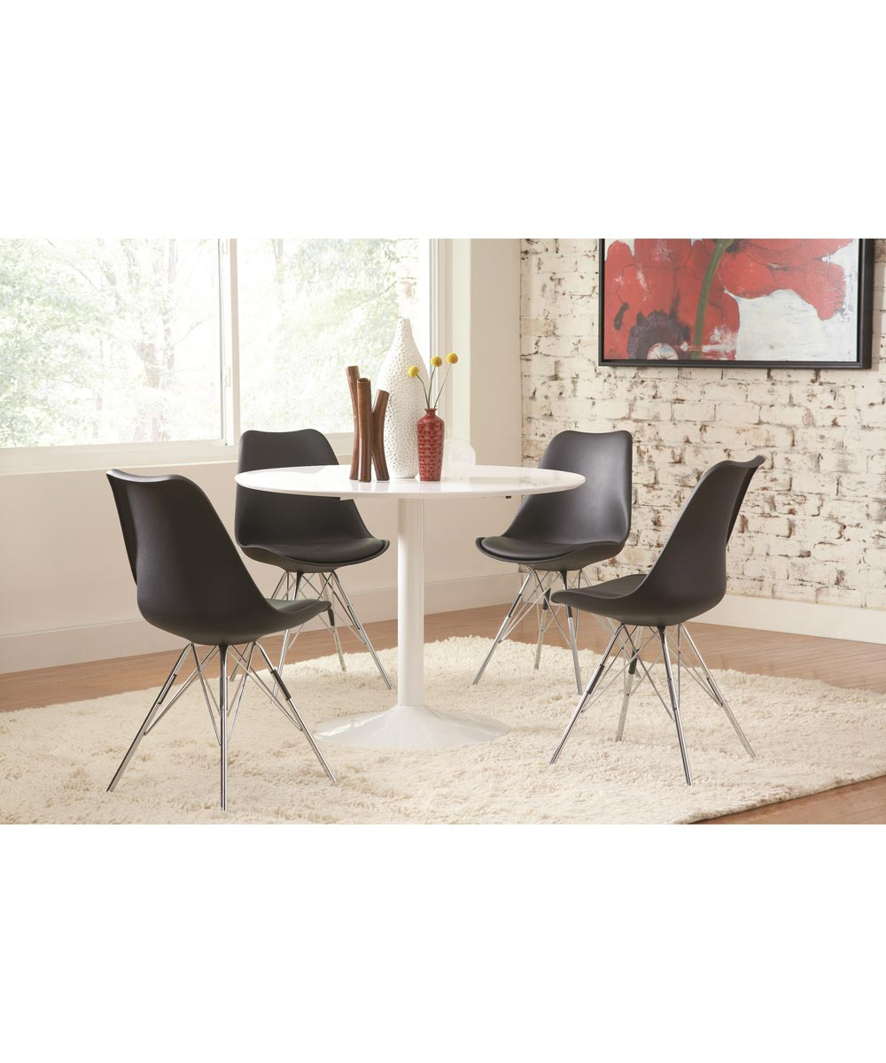 Lowry Contemporary Dining Chair with Chrome Legs, Black