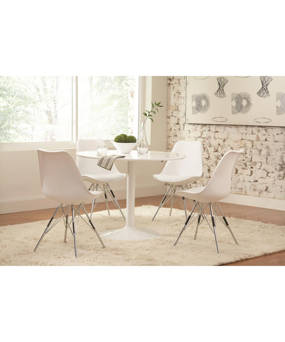 Lowry Contemporary Dining Chair with Chrome Legs, White