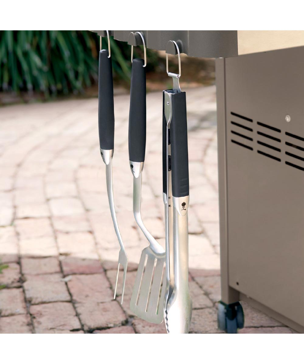 Weber 3 Piece Premium Grill Tool Set with Spatula/Tongs/Fork