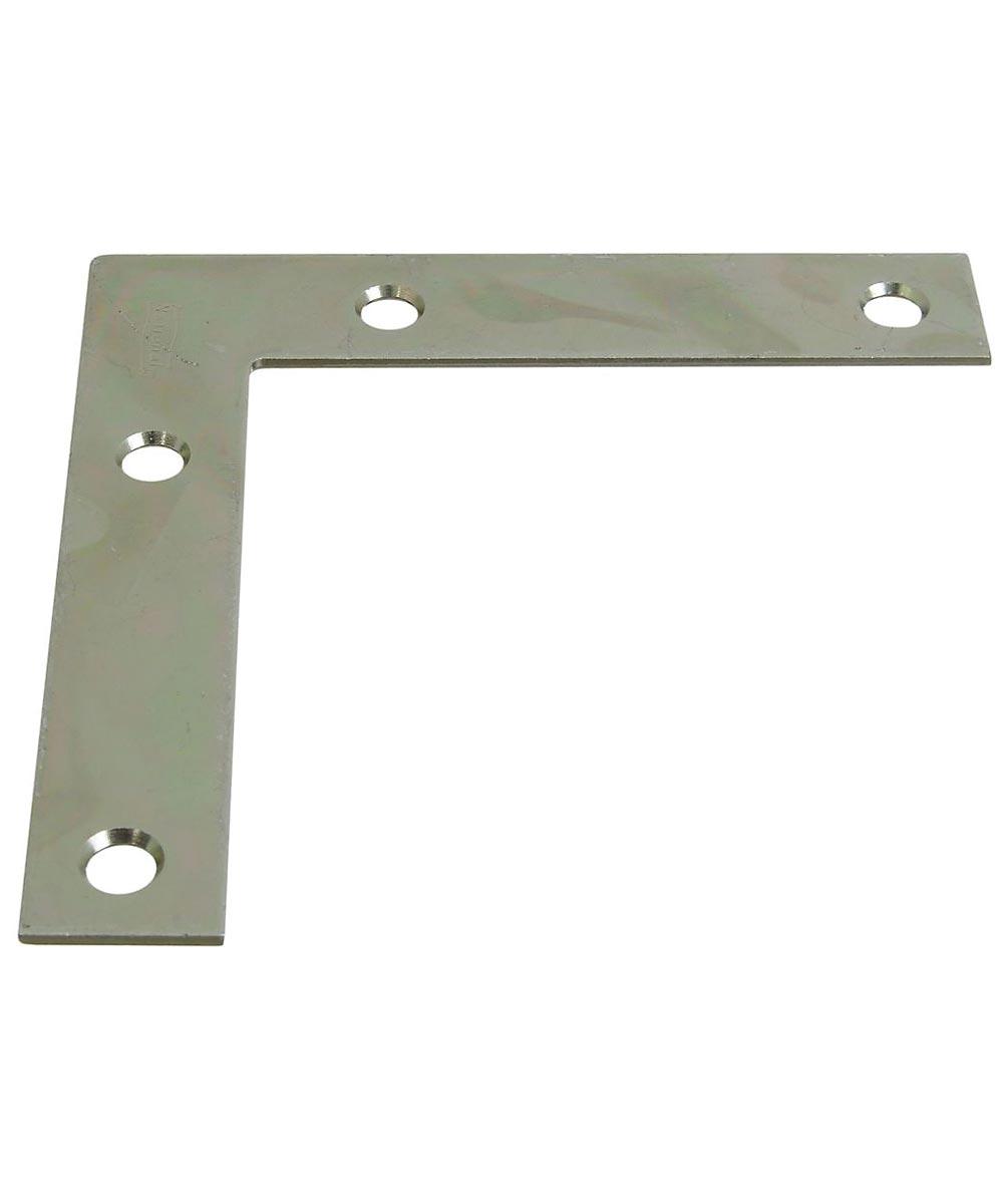 Corner Brace, Flat Steel, 4 x 1/2 Zinc