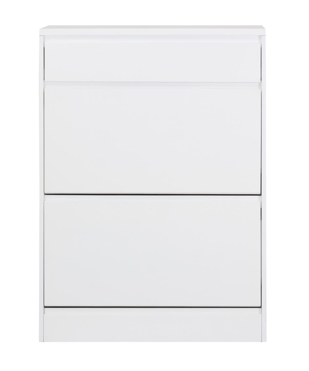 Simplicity Collection 3 Compartment Shoe Cabinet, White
