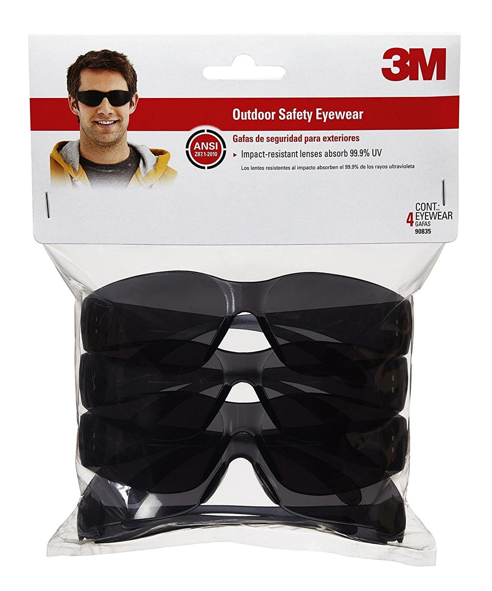 3M Gray Basic Outdoor Safety Glasses, 4 Pack