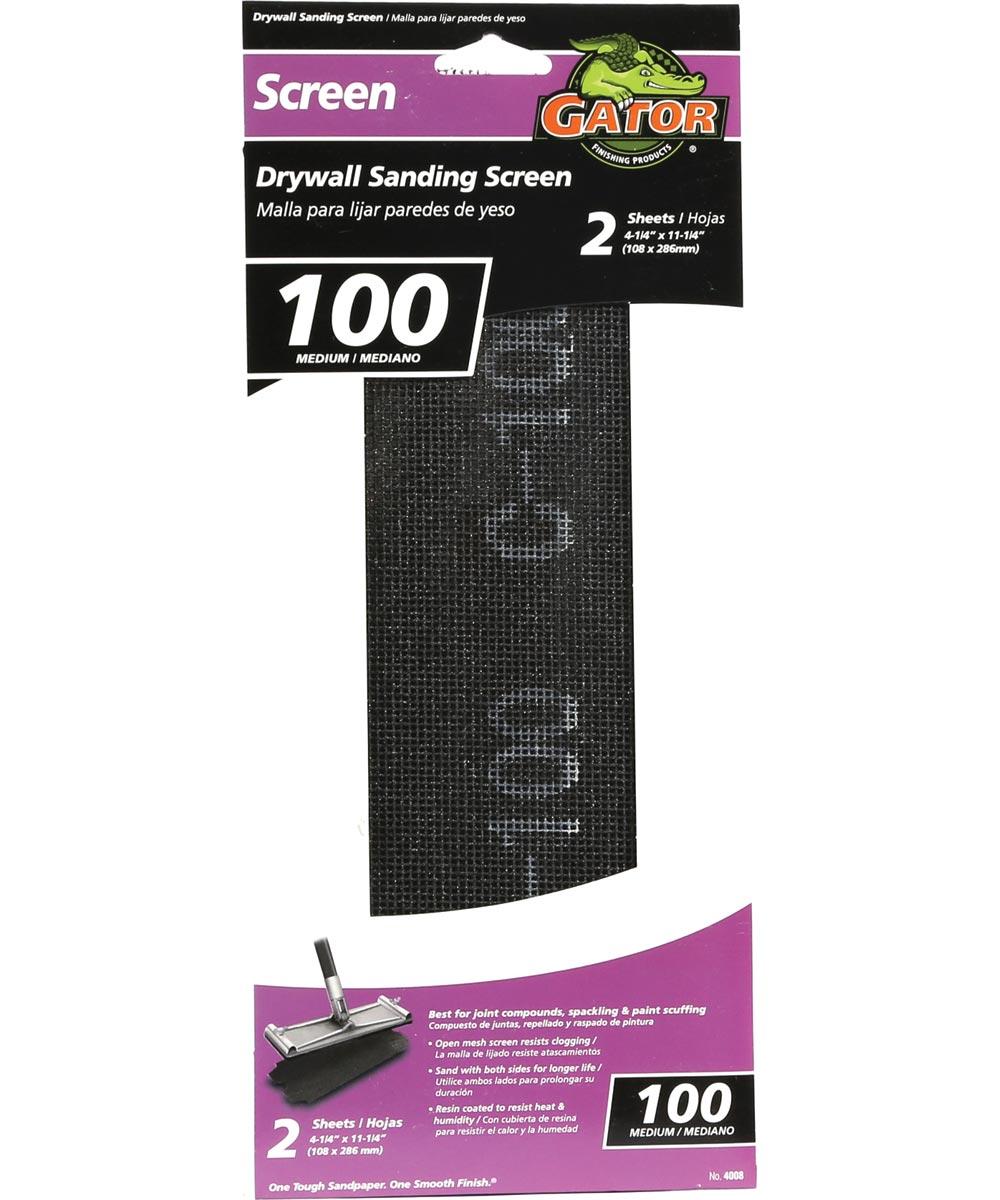 Gator 100 Grit Medium Drywall Sanding Screen, 11-1/4 in. x 4-1/4 in., 2 Pack