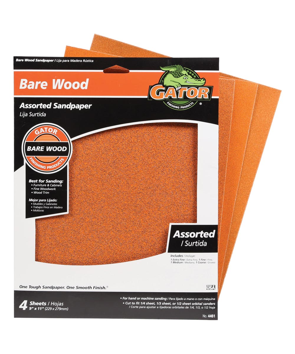 Gator Assorted Grit Bare Wood Sandpaper, 11 in. x 9 in., 4 Pack
