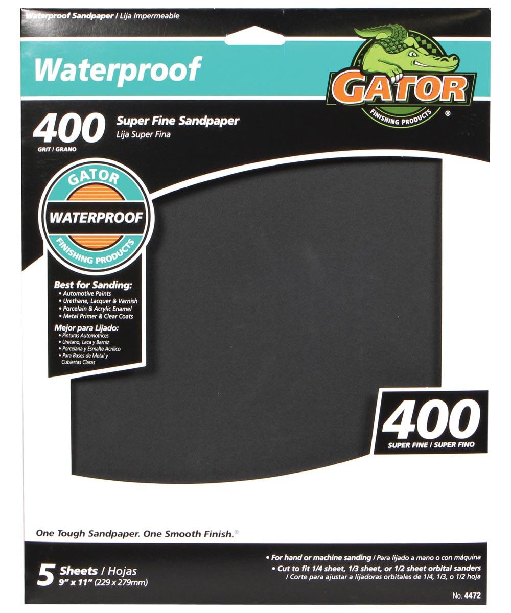 Gator 400 Grit Waterproof Super Fine Sandpaper, 11 in. x 9 in., 5 Pack