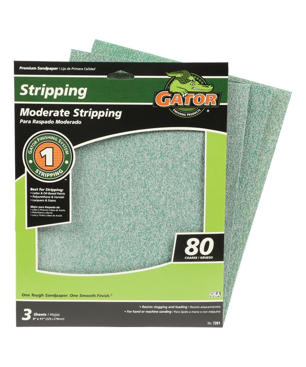 Gator 80 Grit Premium Step-1 Coarse Sandpaper for Moderate Stripping, 11 in. x 9 in., 3 Pack