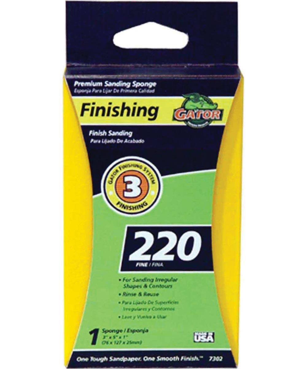 Gator 220 Grit Premium Step-3 Fine Sanding Sponge, 3 in. x 5 in. x 1 in.