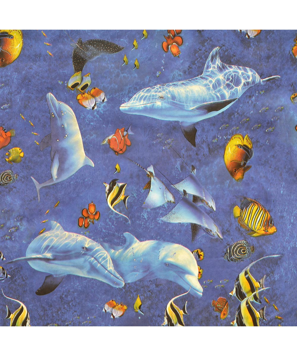 54 in. Vinyl Lassen Sea Fishes Magic Cover Flannel (Sold Per Foot)