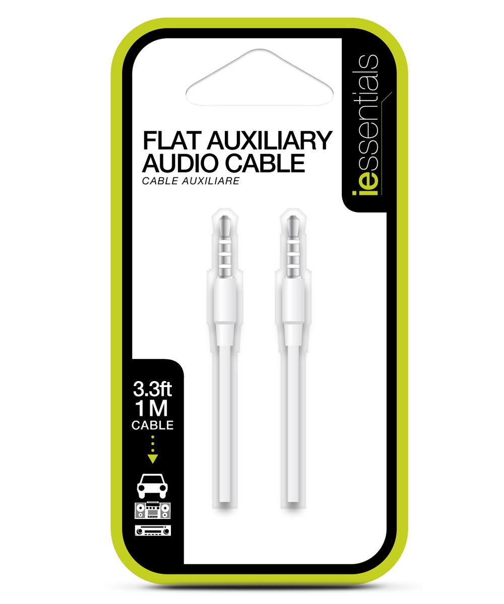 3.3 ft. White Auxiliary Audio Cable