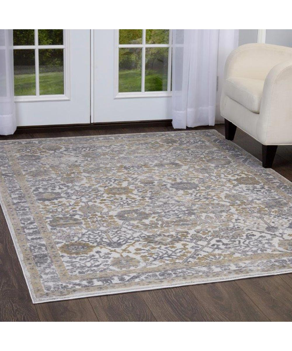 Kenmare Floral Gray Yellow Area Rug 5x7 Ft City Mill
