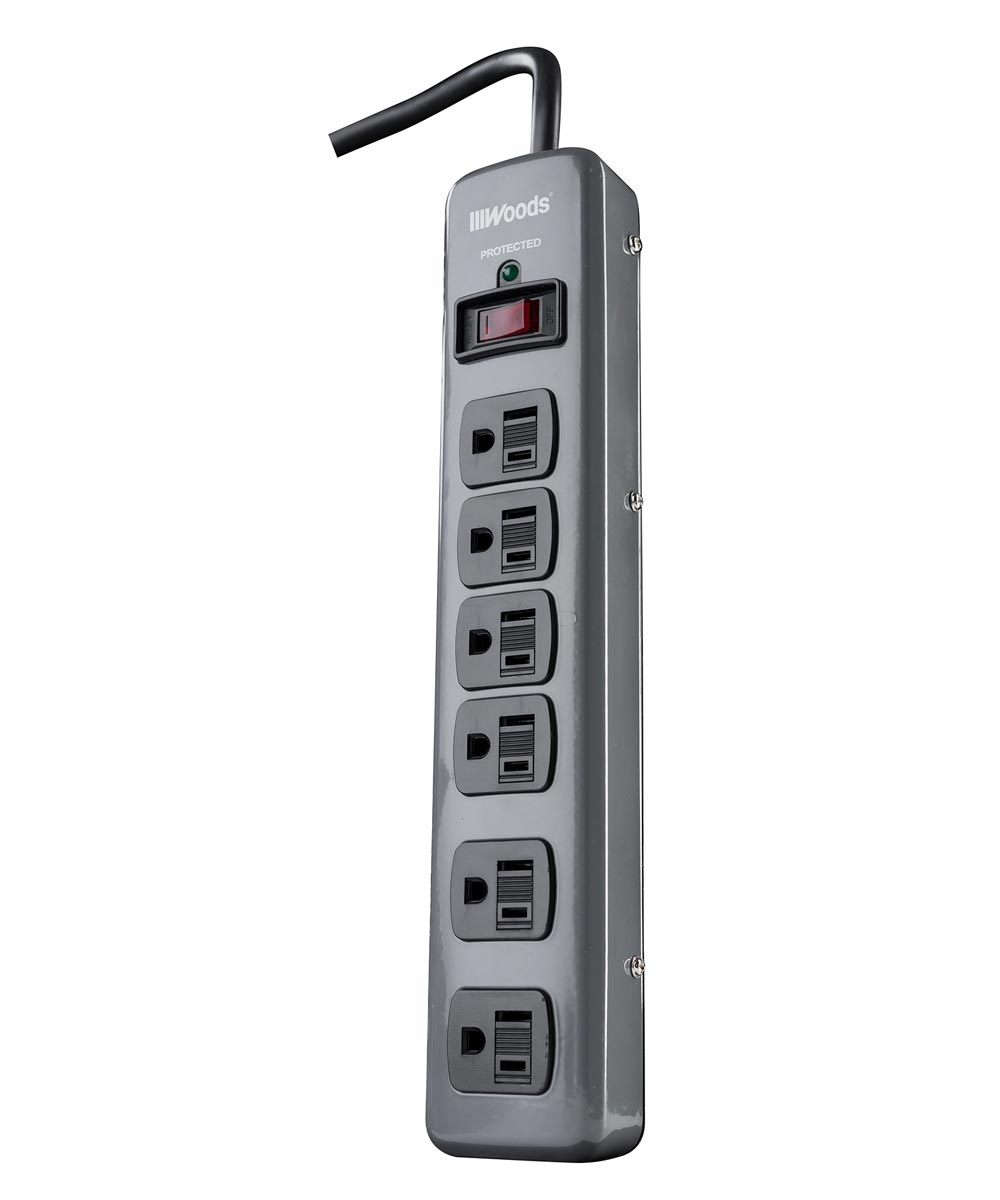 6 Outlet 900 Joules Dark Gray Metal Surge Protector
