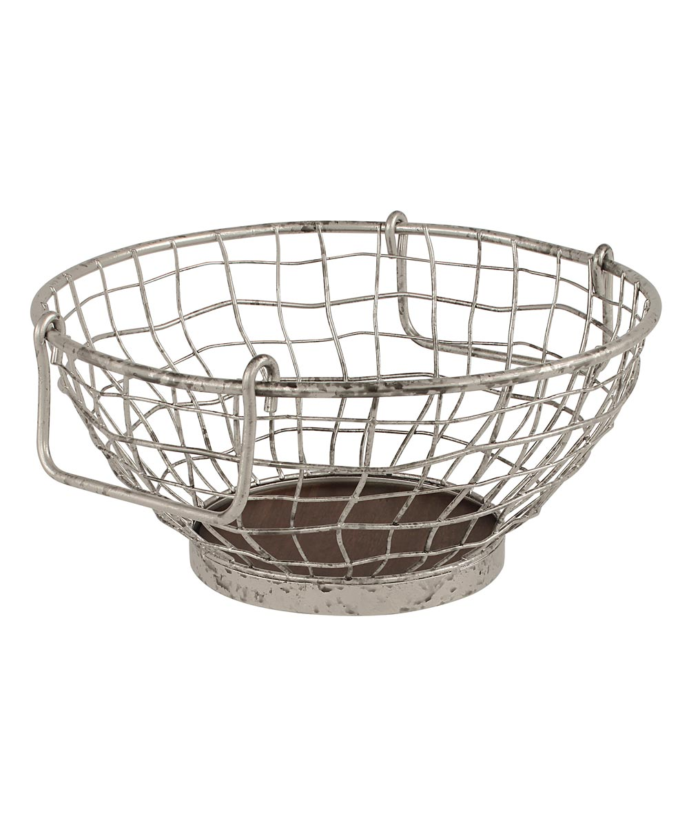 11 in. x 6 in. Metal/Wood Heritage Fruit Bowl