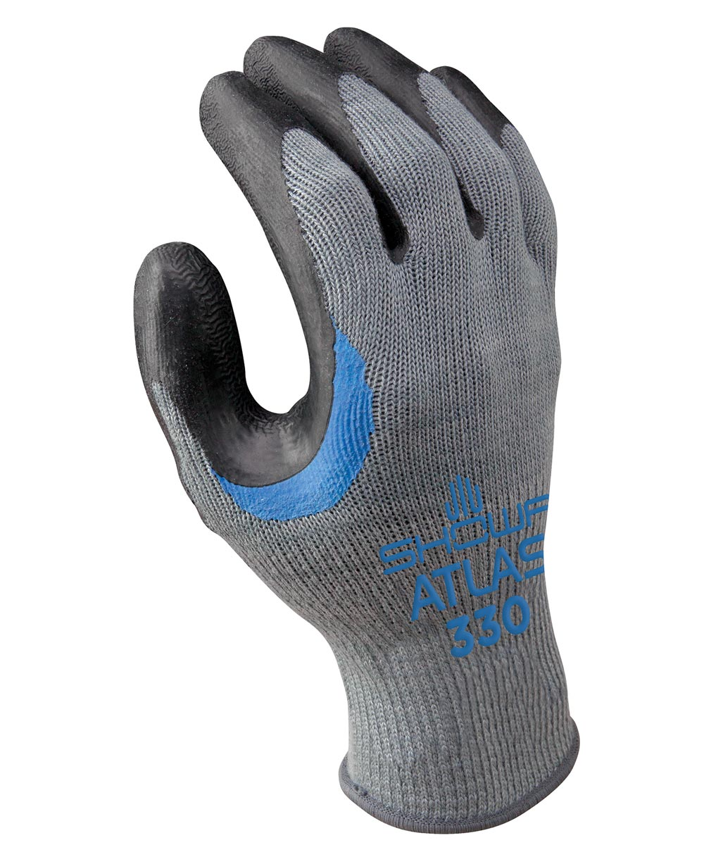 10-Gauge X-Large Gray/Black Natural Rubber Palm Seamless