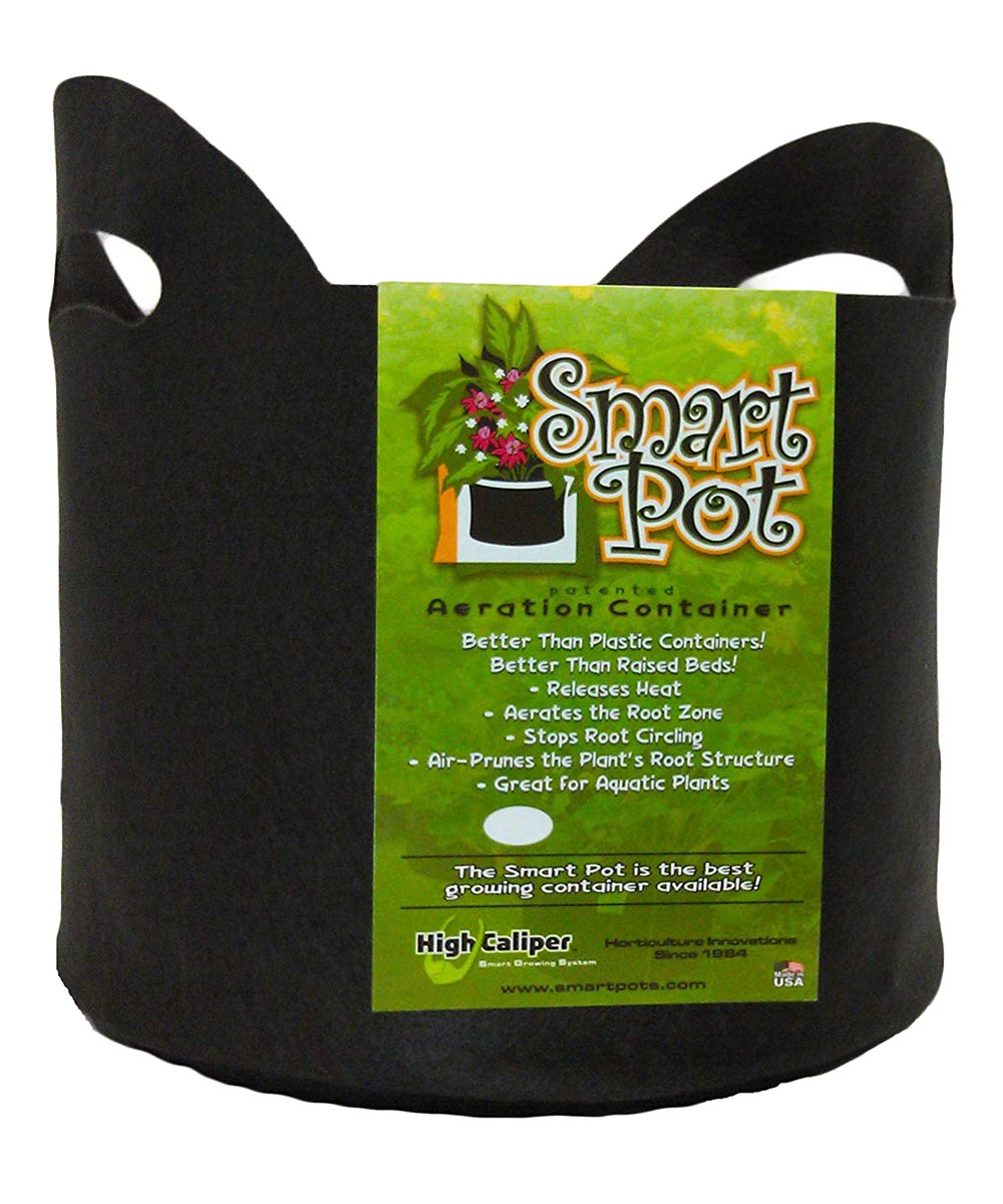 Smart Pot 5 Gallon Soft-Sided Plant Aeration Container (With Handles), Black