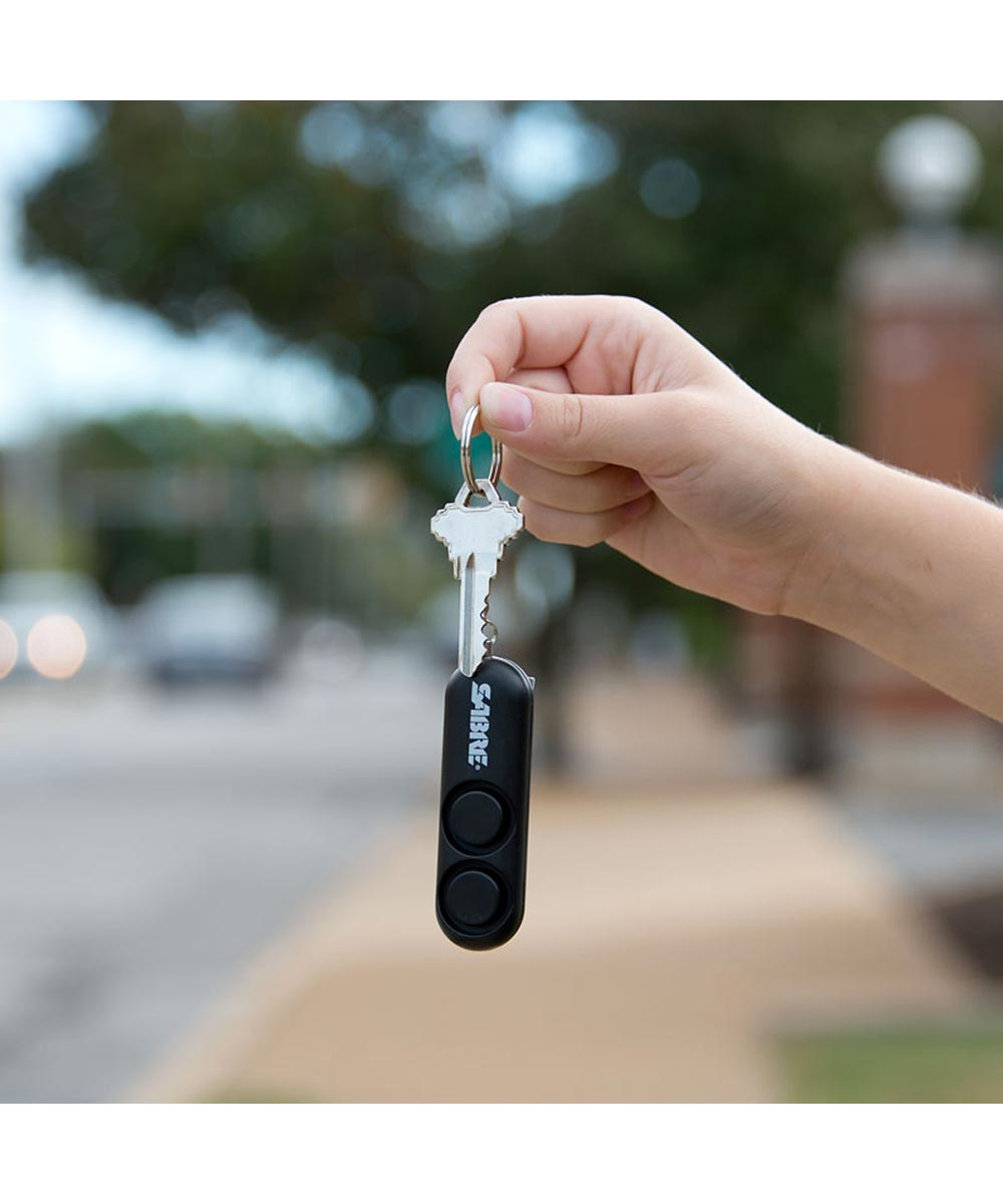 Sabre Personal Alarm Keychain with Key Ring, Black