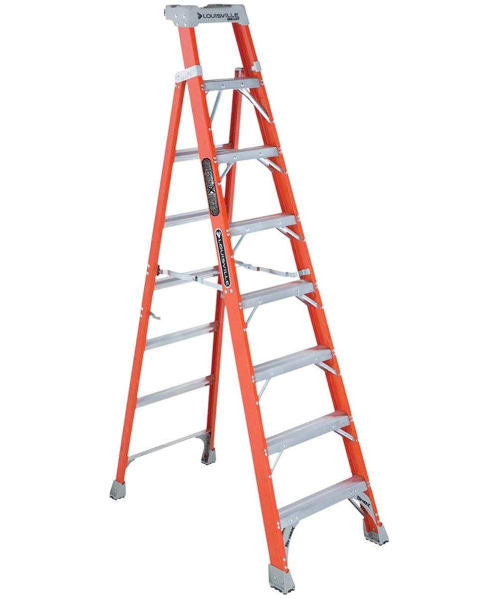 Louisville 8 ft. Cross Step Fiberglass Step To Shelf Ladder, 300 lb. Load
