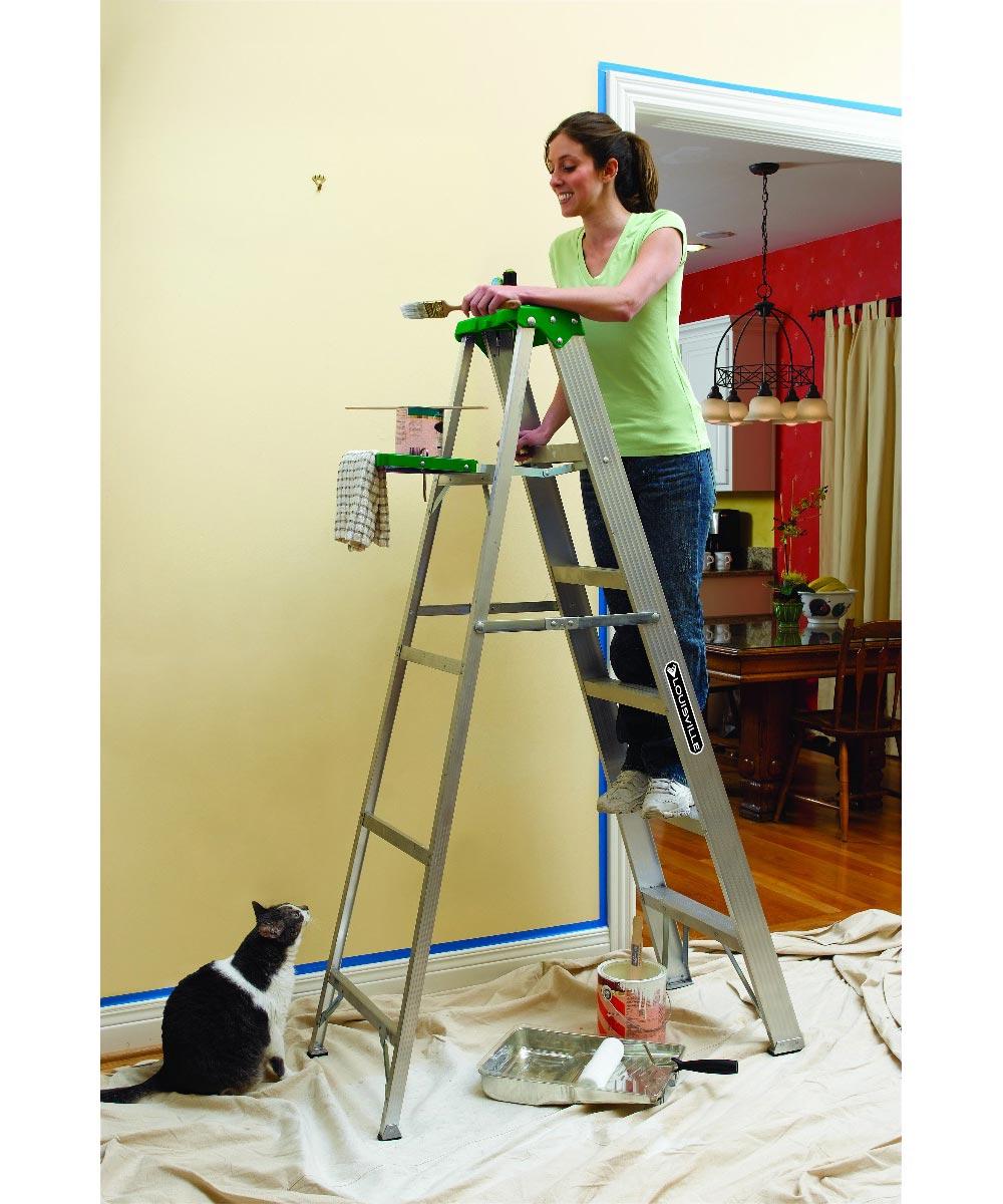 Louisville 8 ft. Aluminum Step Ladder, 225 lb. Load