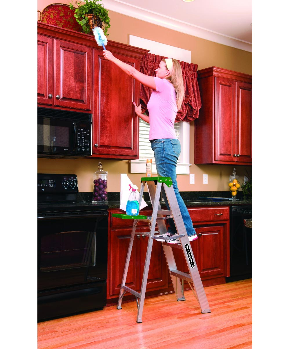 Louisville 4 ft. Standard Aluminium Step Ladder with molded pail shelf, 225 lb. Load.