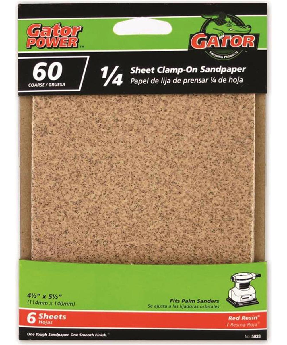 Gator 60 Grit 1/4 Sheet Clamp-On Coarse Sandpaper, 5-1/2 in. x 4-1/2 in., 6 Pack