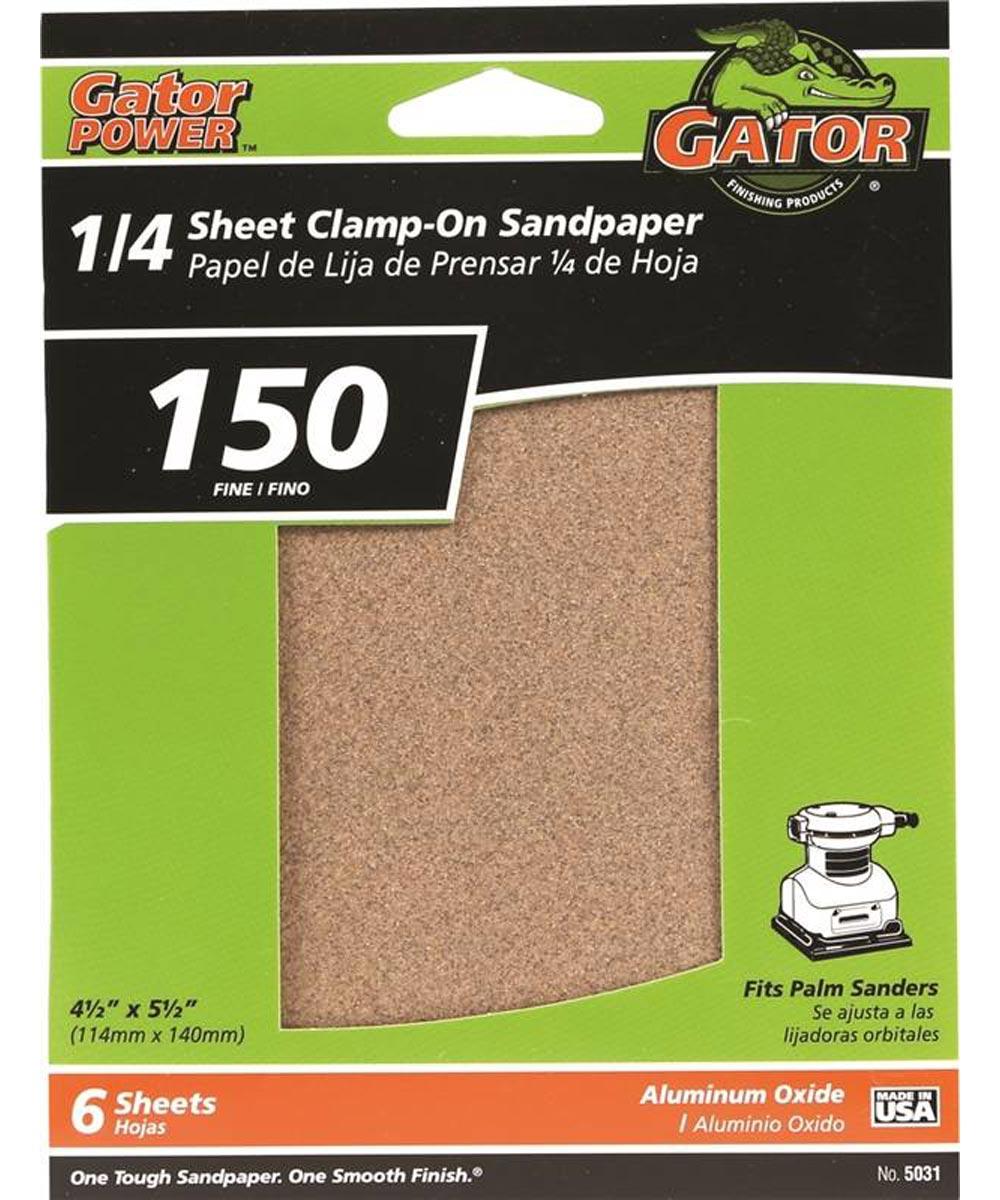 Gator 150 Grit 1/4 Sheet Clamp-On Fine Sandpaper, 5-1/2 in. x 4-1/2 in., 6 Pack