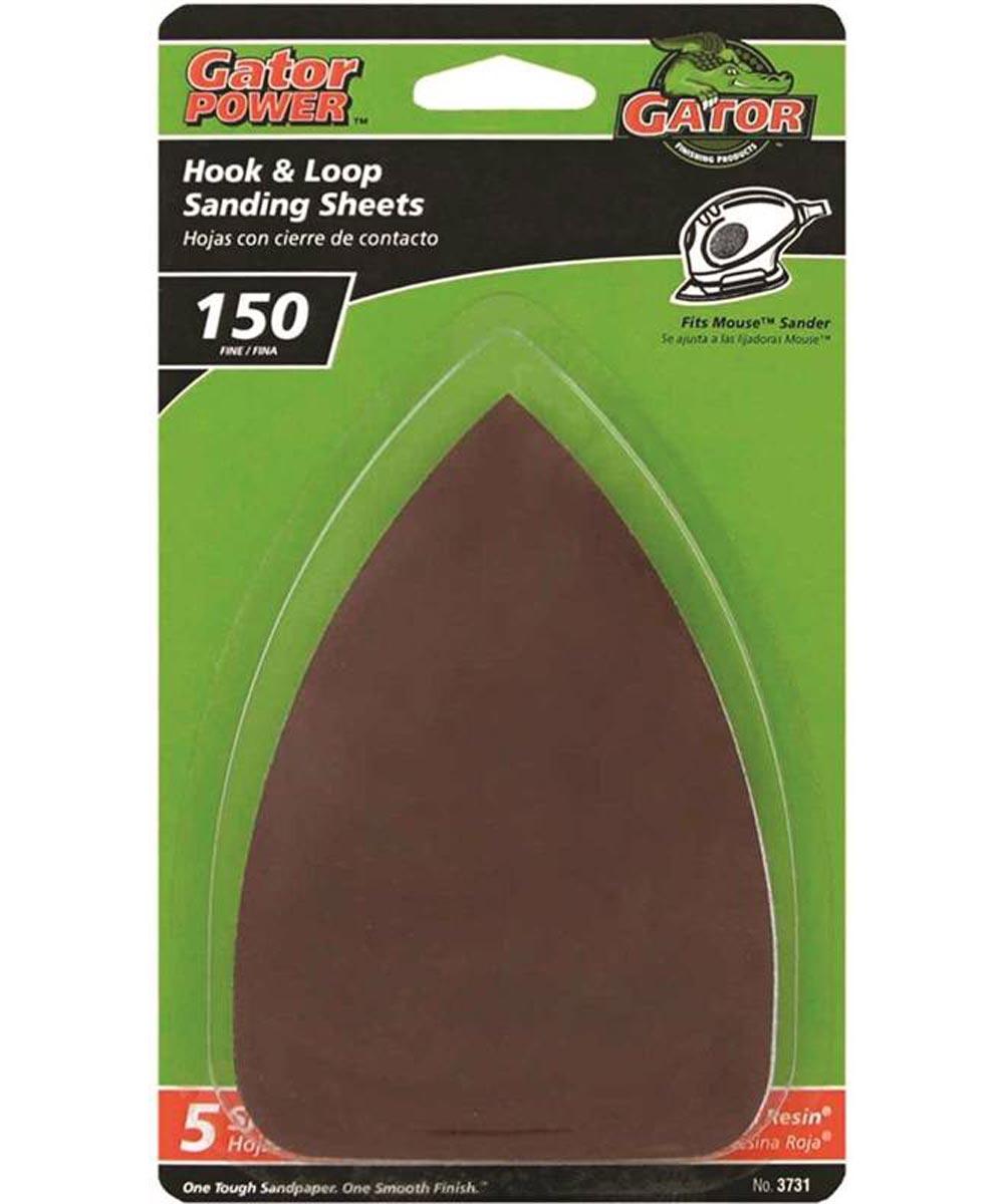 Gator 150 Grit Hook & Loop Fine Sandpaper Sheets for Mouse Sanders, 5 Pack