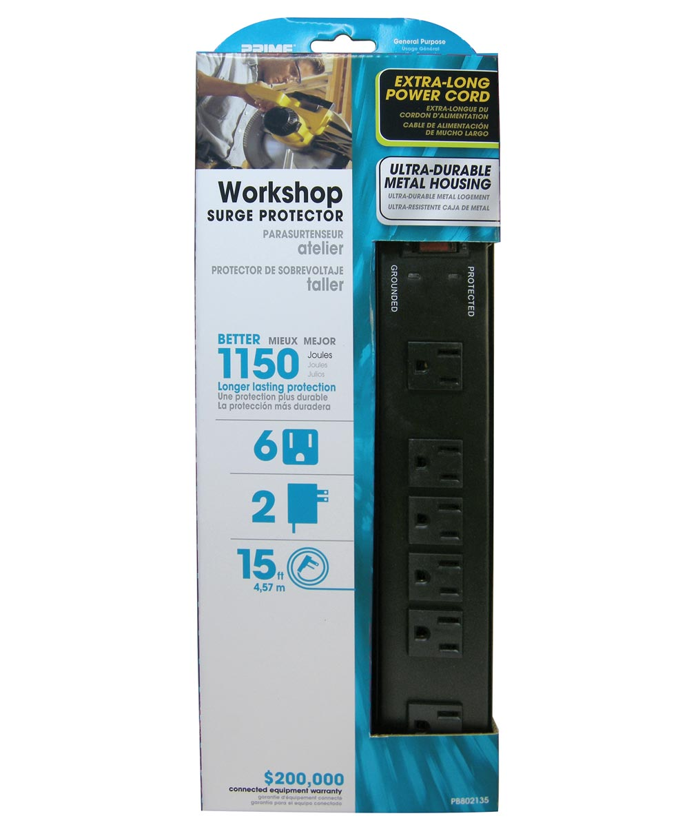 6 Outlet Black 1150J Metal Surge Protector W/15' Cord