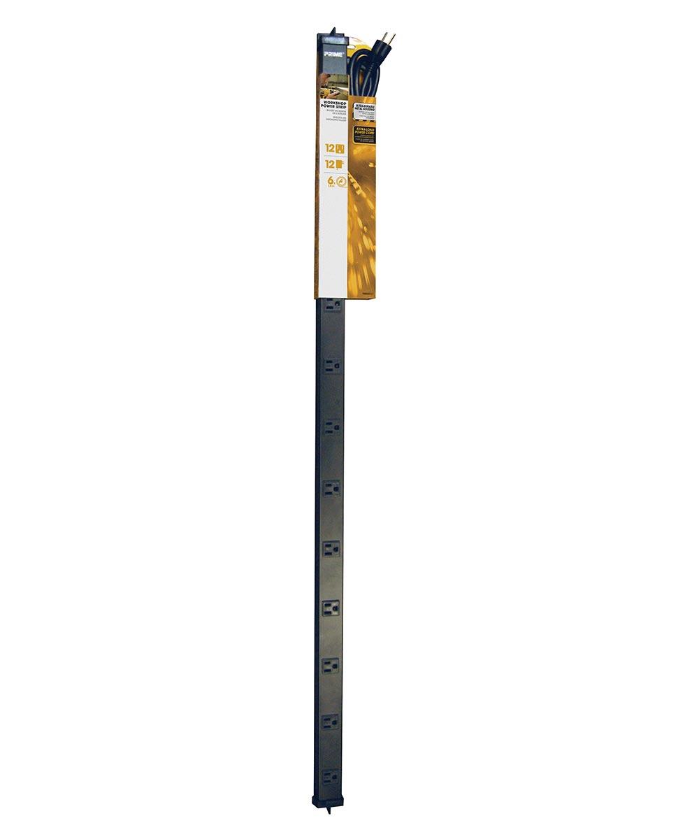 12 Outlet 4' Black Metal Power Strip W/6' Cord