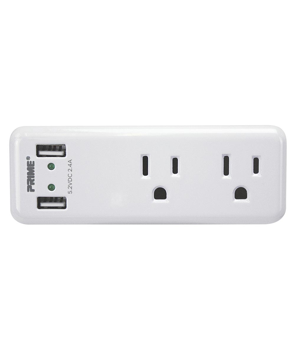 125V 2-Outlet & 2.4A 2-USB Port High Speed Charger