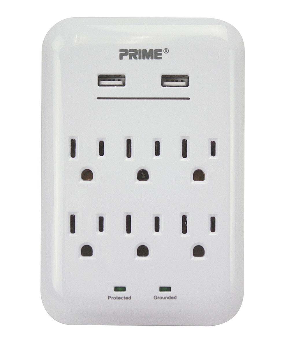 125V 6-Outlet & 3.4A 2-USB Charger With Surge Protection