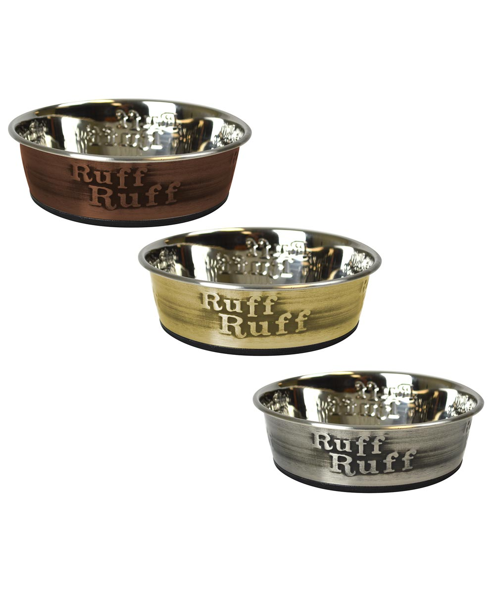 4 Cup Medium Stainless Steel Ruff Dog Bowl Assorted Colors