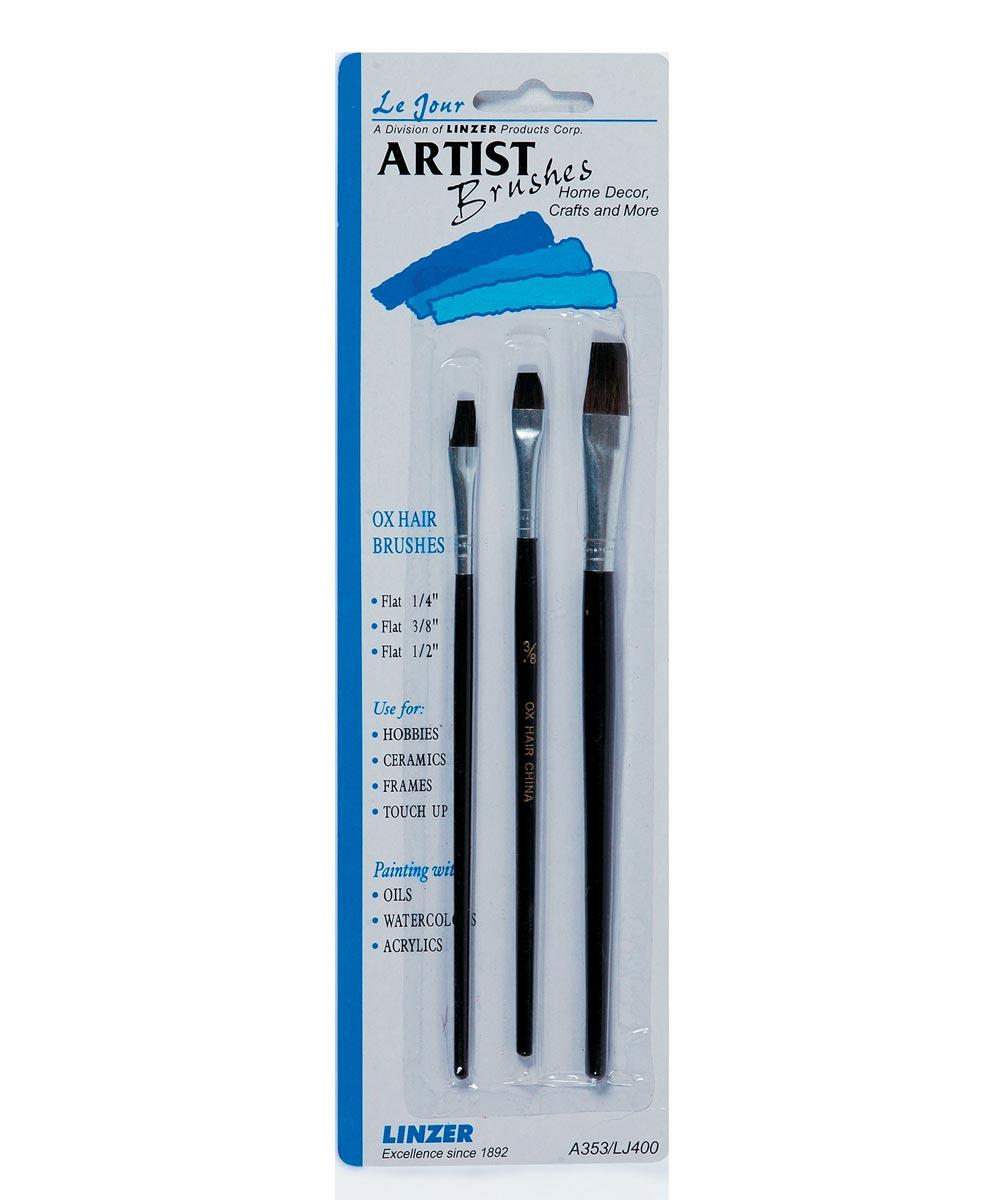 Ox Hair Flat Artist Brush 3 Piece Set
