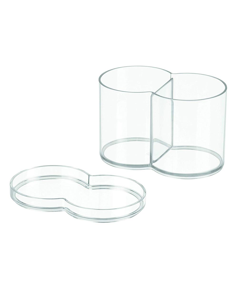 InterDesign Clarity Plastic Stackable Makeup & Cosmetic Storage Canister Container with 2 Compartments
