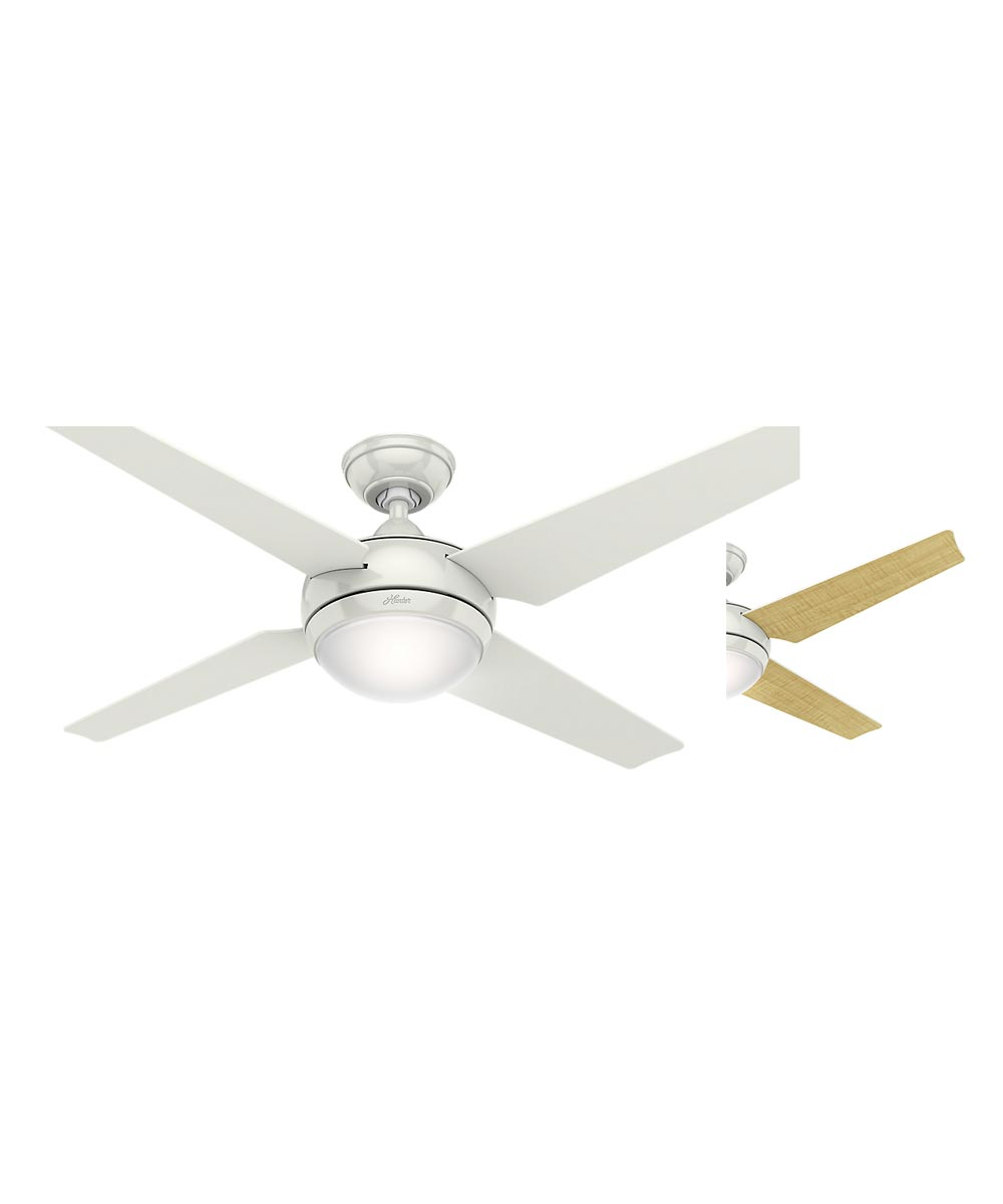 Hunter 52 in. Sonic 4 Blade Ceiling Fan with Light & Remote Control, White
