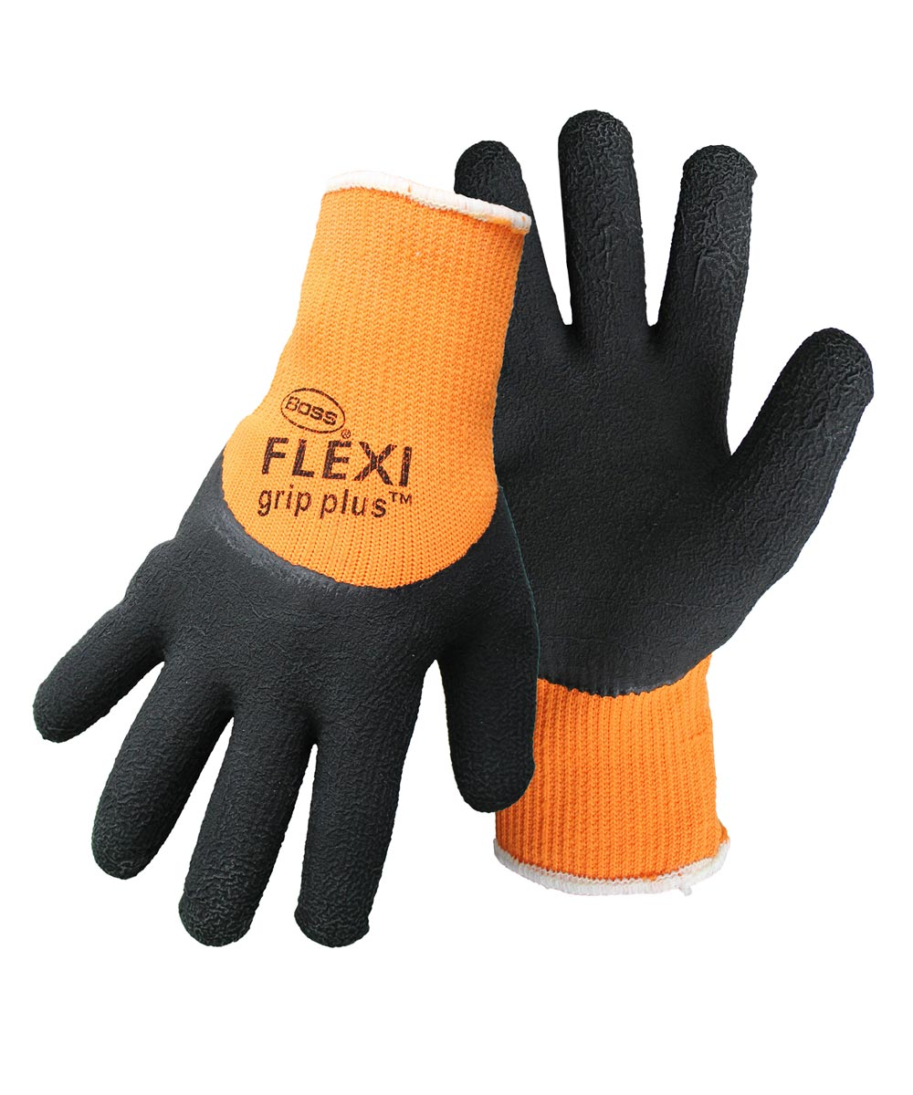 Large High-Vis Orange/Black Flexi Grip Plus Latex Palm Gloves
