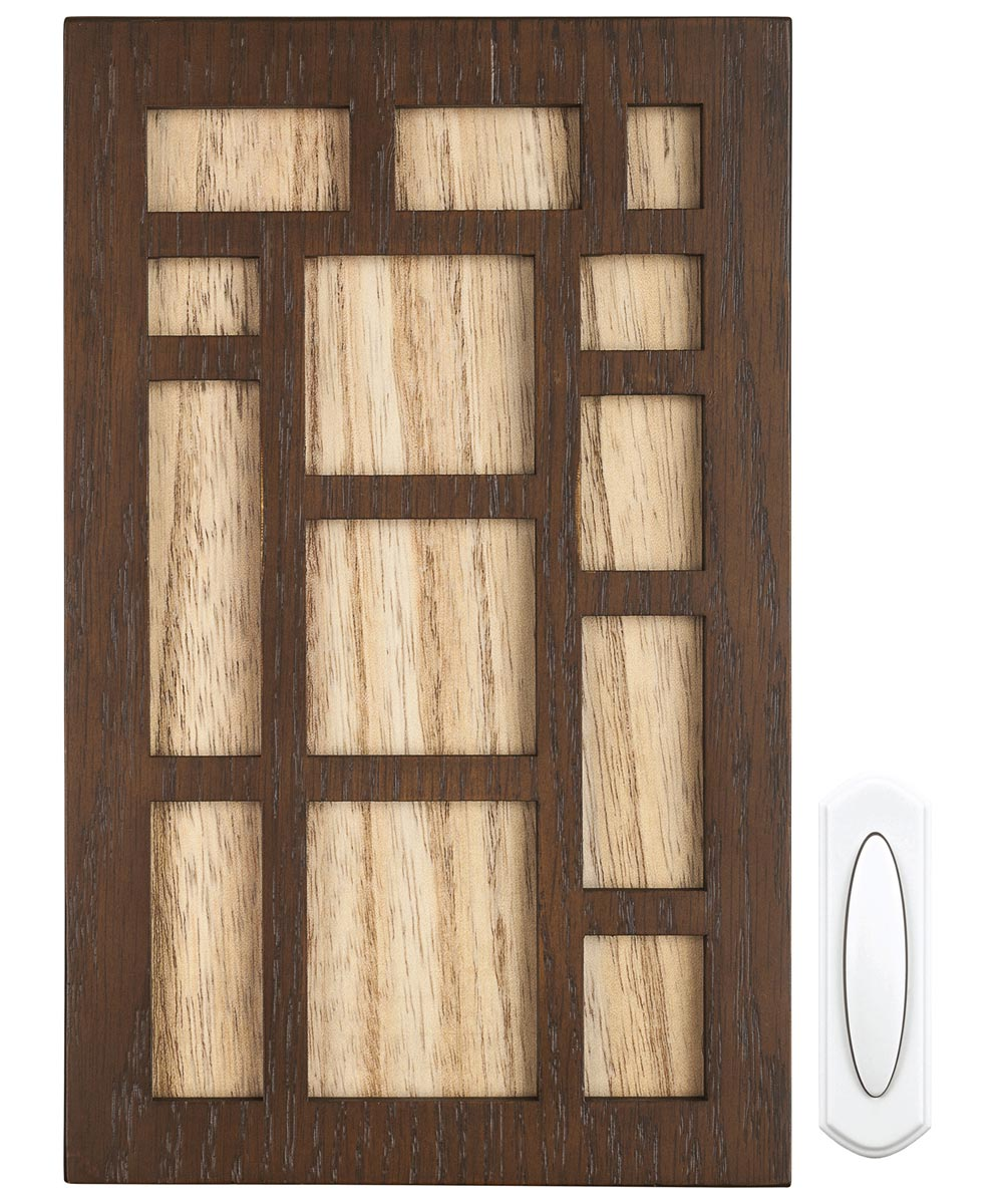 Real Wooden Wireless Chime & Push Button Kit