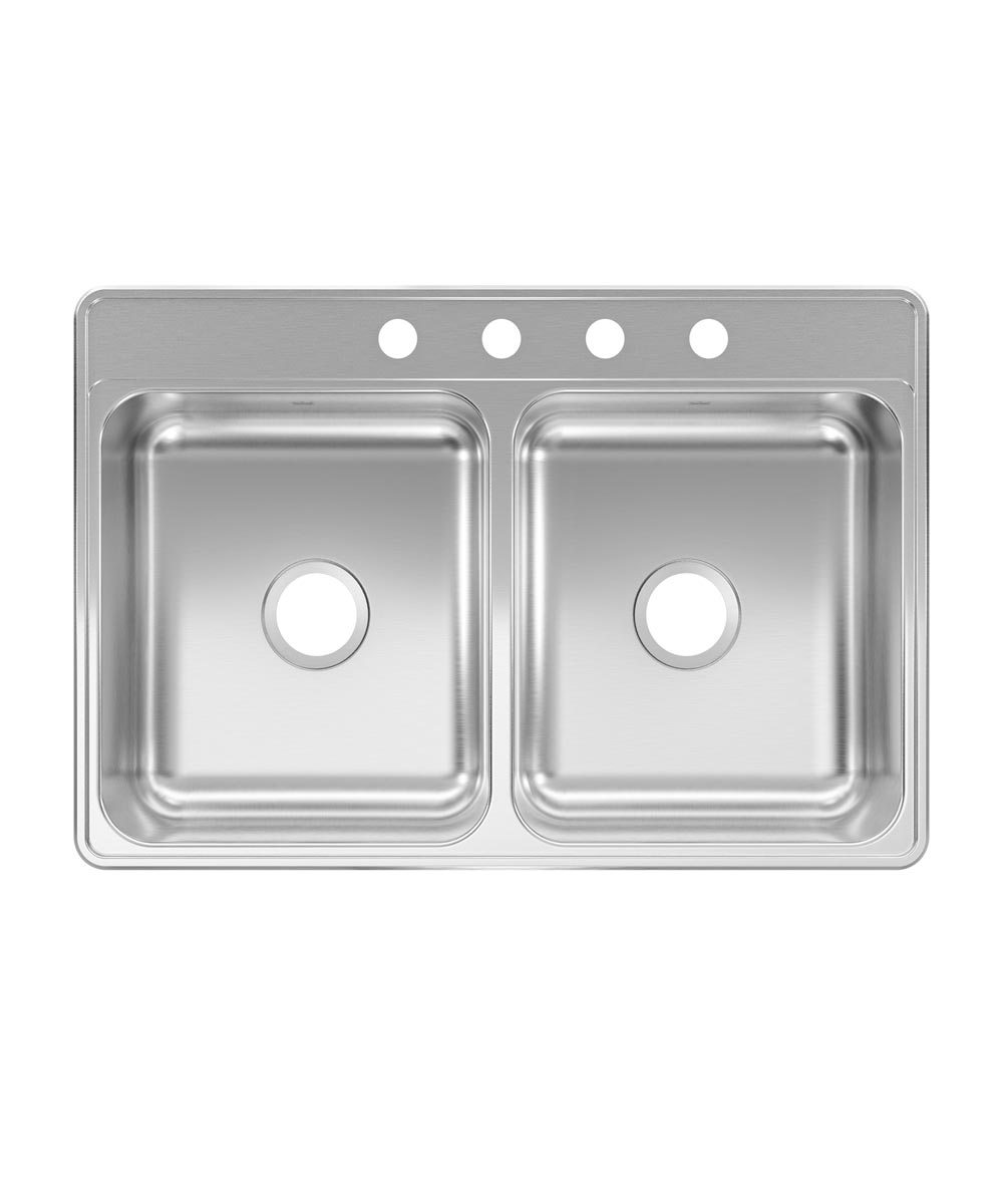 Kindred Creemore 33 in. x 22 in. x 6 in. Stainless Steel 4-Hole Top Mount Drop-In Double Bowl Kitchen Sink