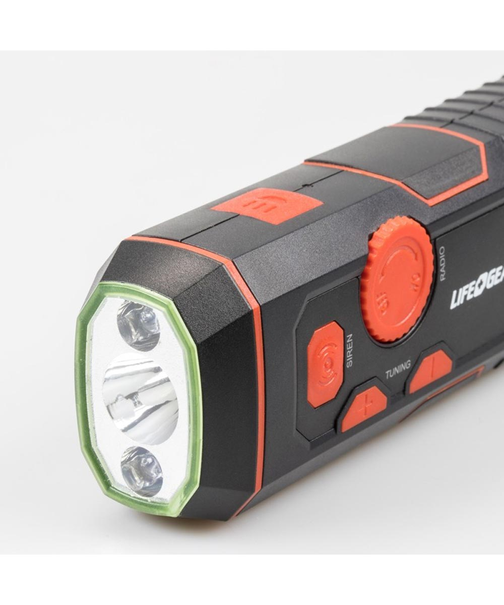 Life Gear Stormproof Crank Radio Light with USB Quick Charger