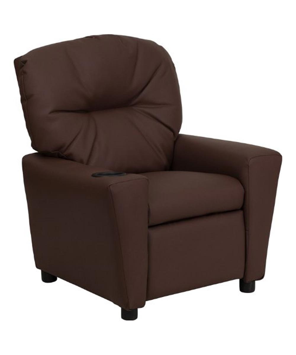 Kid's Recliner with Built-In Cup Holder, Brown Synthetic Leather
