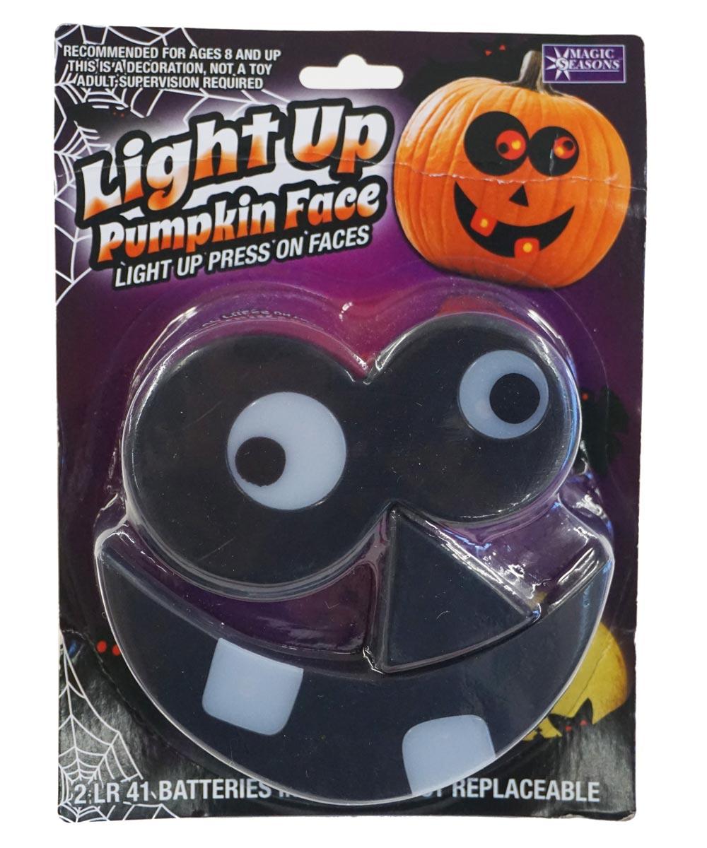Press On Light Up Halloween Pumpkin Face, Assorted