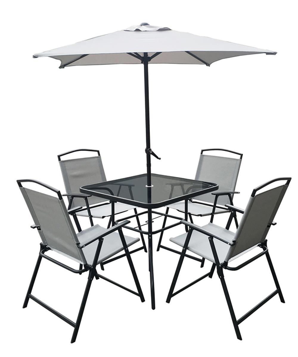 Oakville 6-Piece Santas Forest Patio Furniture Set with Umbrella