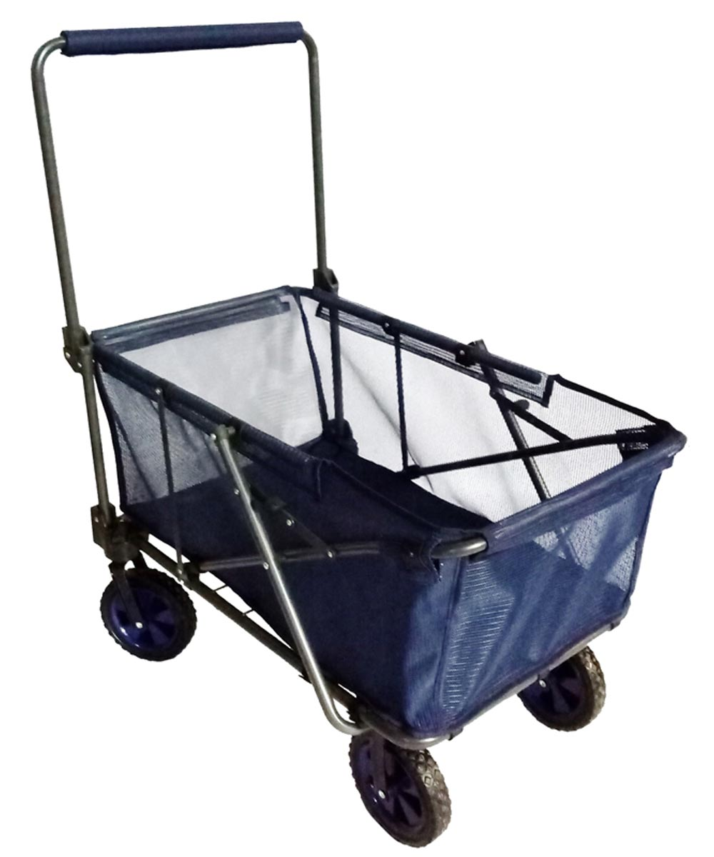 Folding Steel Frame Utility Wagon, Blue