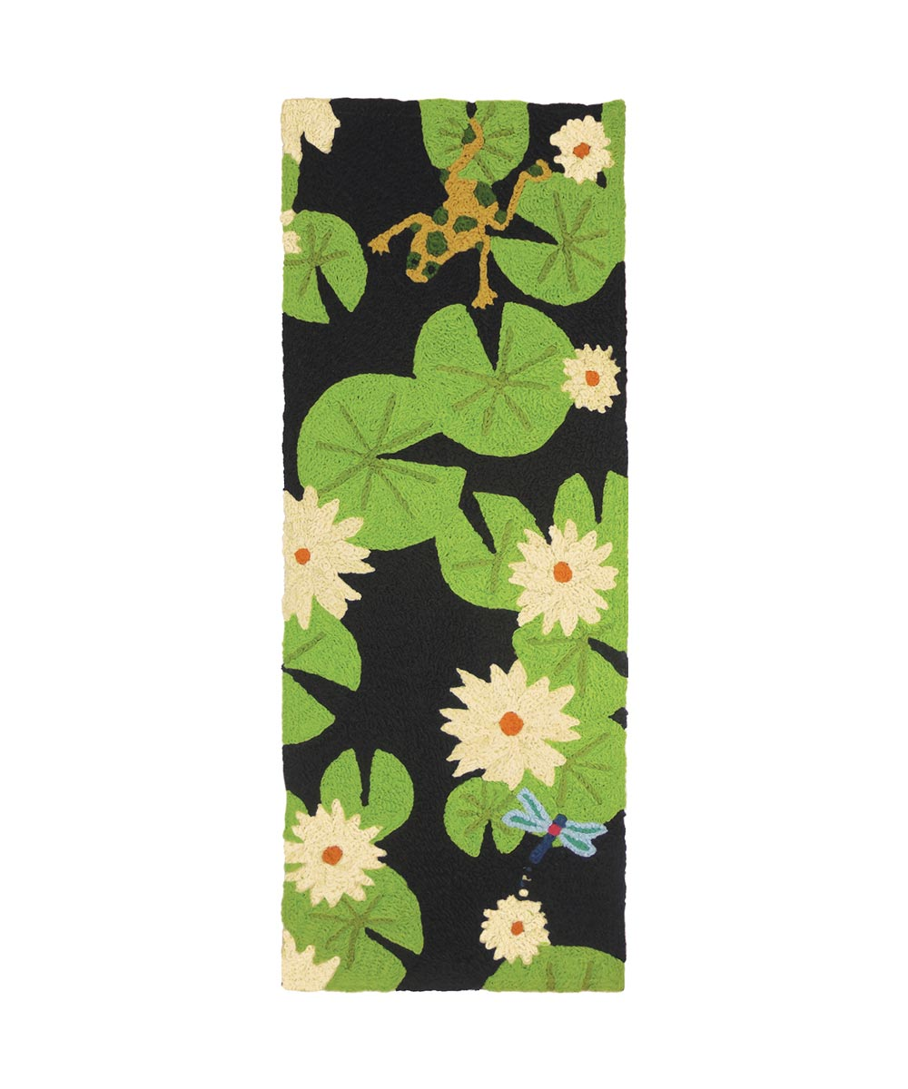 Jellybean Lily Pad & Frogs 21 in. x 54 in. Indoor & Outdoor Patio Rug