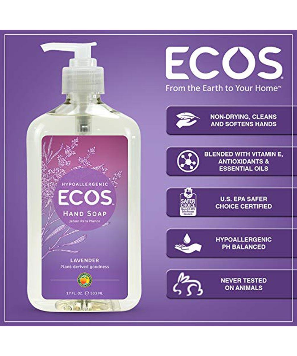 ECOS Hypoallergenic Hand Soap, Lavender Scented, 17 oz. Pump