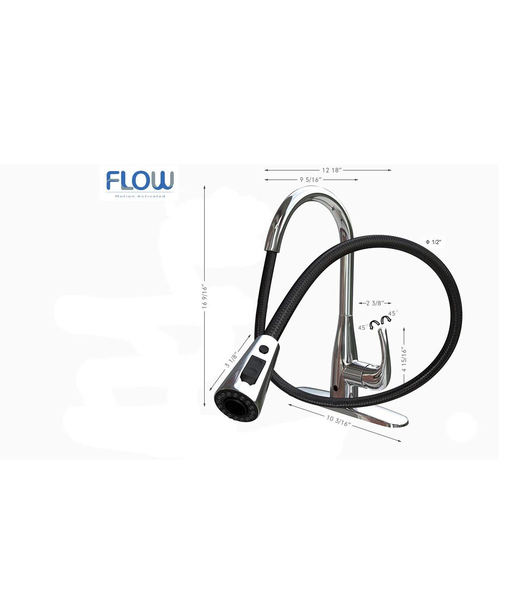 Flow Motion Sensor Kitchen Faucet with Single-Handle Pull-Down Sprayer, Chrome