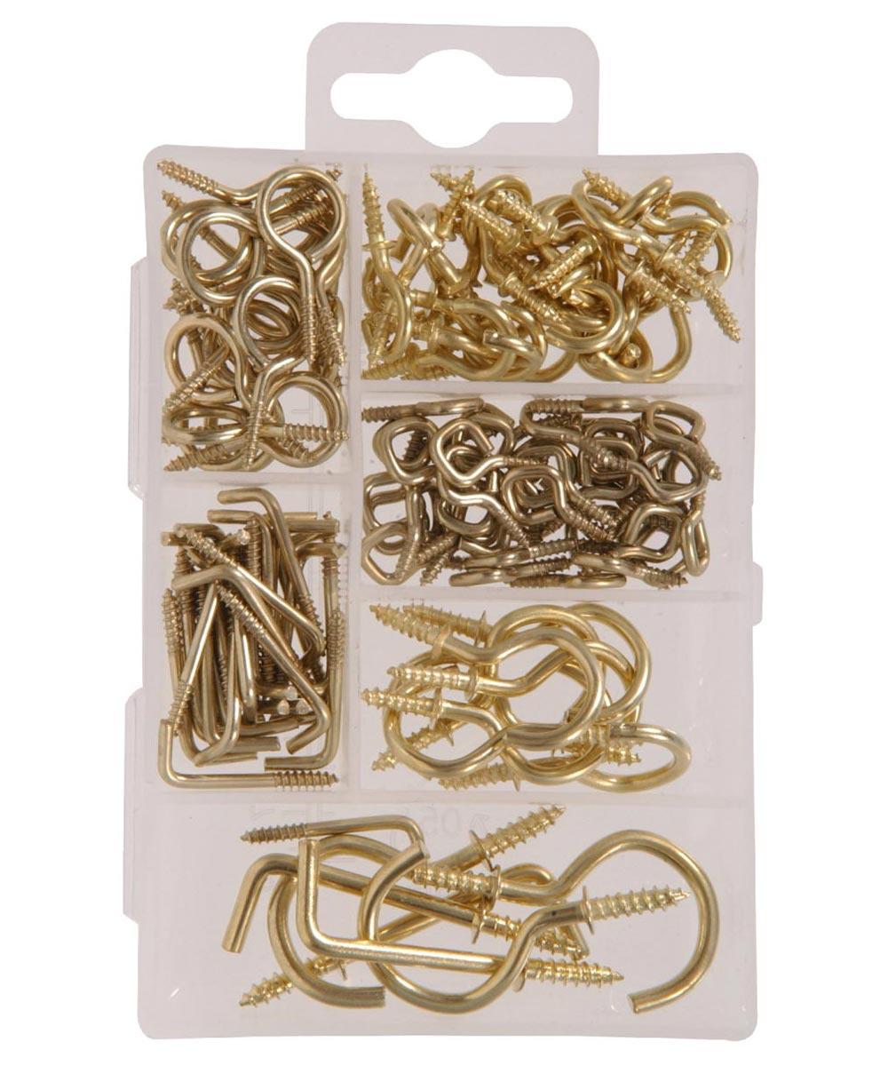 Small Brass Screw Eye Kit 121 Piece