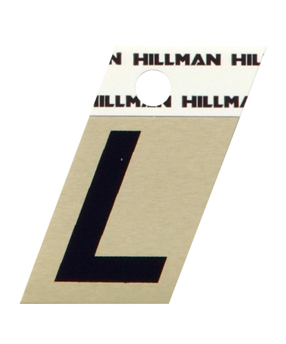 1.5 in. Black and Gold Adhesive Letter L, Angle Cut Aluminum